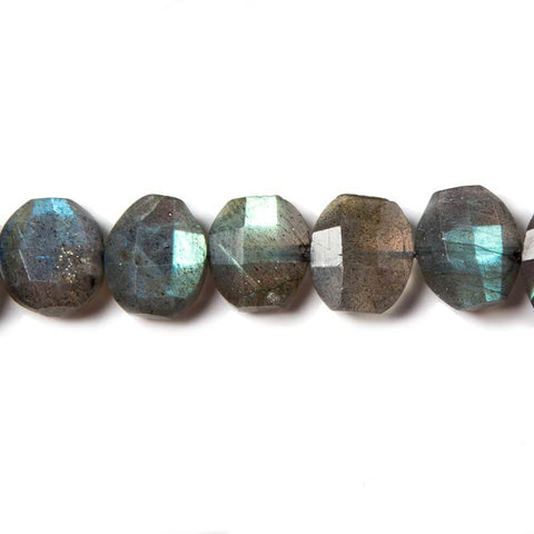 12x10mm Labradorite side drilled Faceted Cushion Beads 7 inch 16 pieces