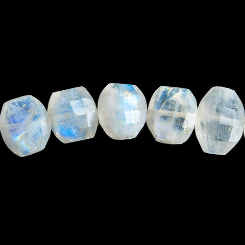 11mm Rainbow Moonstone Faceted Cushion Beads 6 inch 21 pieces