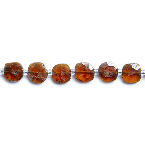 Hessonite Garnet faceted pillow beads 14 inch 37 pieces 7.5x7.5mm average