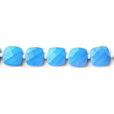 Best selling 8x8mm Dyed Turquoise Howlite faceted pillow beads 13.5 inch 37 pieces - Buy From The Bead Traders Online Store.