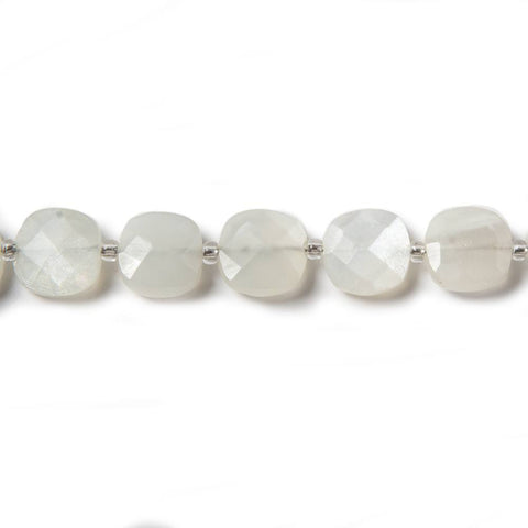 Off White Moonstone faceted pillow beads 14 inch 37 pieces 8x8mm average