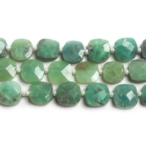 Premium quality 8.5x8.5-9x9mm Chrysoprase faceted pillow beads 13.5 inch 31 pieces - Buy From The Bead Traders Online Store.