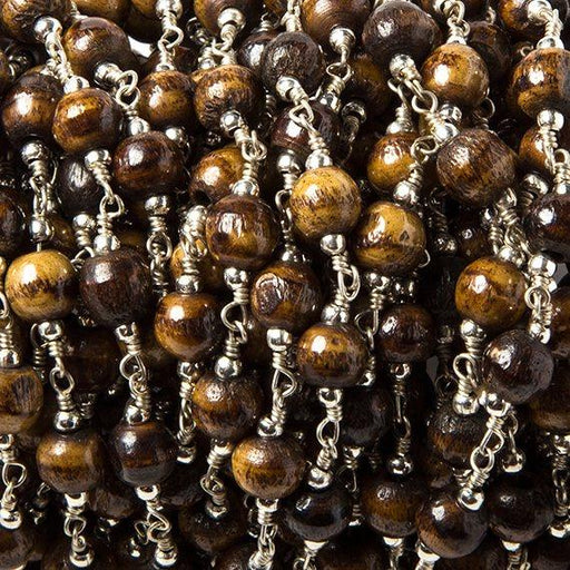 5-6mm Brown Bone rounds Silver plated Bead and Chain by the foot 24pcs