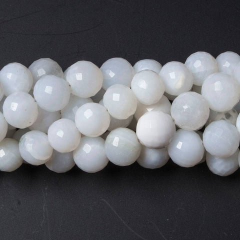 Attractive 6.5-7mm White Opal faceted round beads 8 inches 28 pieces - Buy From The Bead Traders Online Store.