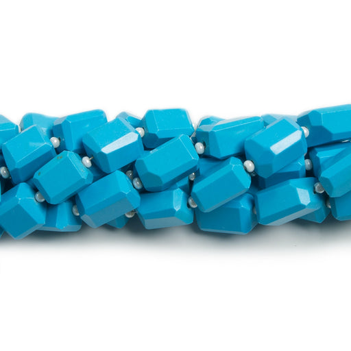 7.5x6-10x6mm Dyed Turquoise Howlite faceted rectangle beads 33 pieces