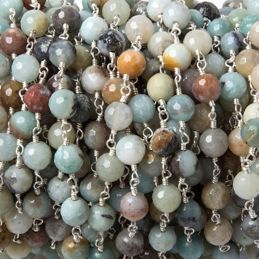6mm MultiColor Amazonite faceted round Silver plated chain by the foot 26 pcs