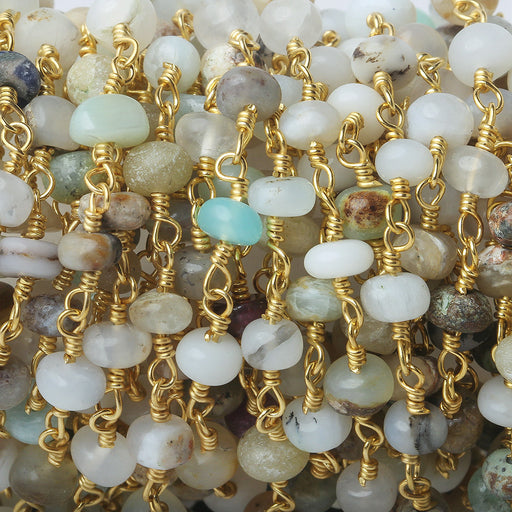 5mm Multi Color Peruvian Opal Plain Rondelle Gold plated Chain by the foot