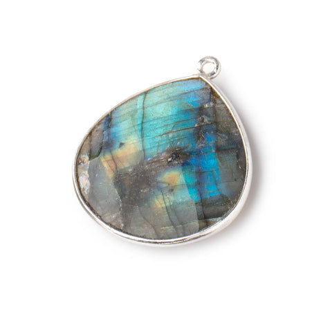 26x26mm Silver Bezeled Labradorite Heart Focal Bead Pendant 1 piece