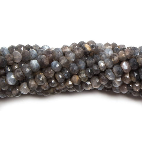 3.5-4mm Dark Platinum Moonstone faceted rondelle beads 13 inch 110 pieces