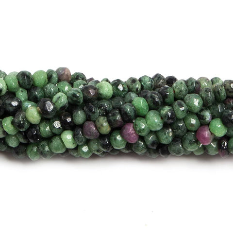 Premium quality 3mm Ruby in Zoisite faceted rondelle beads 13 inches 135 pieces - Buy From The Bead Traders Online Store.