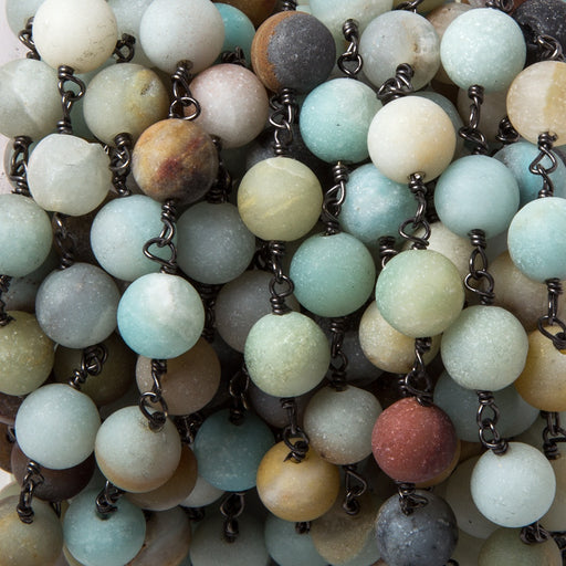 8.5mm Matte Amazonite plain round Black Gold plated Chain by the foot 22 pcs