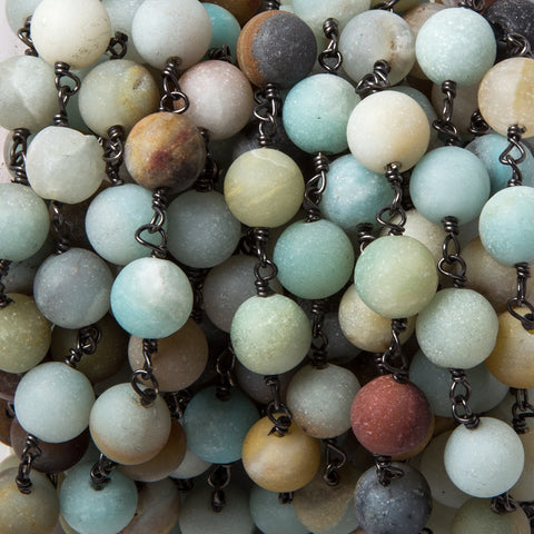 Luxurious 8.5mm Matte Amazonite plain round Black Gold plated Chain by the foot 22 pcs - Buy From The Bead Traders Online Store.