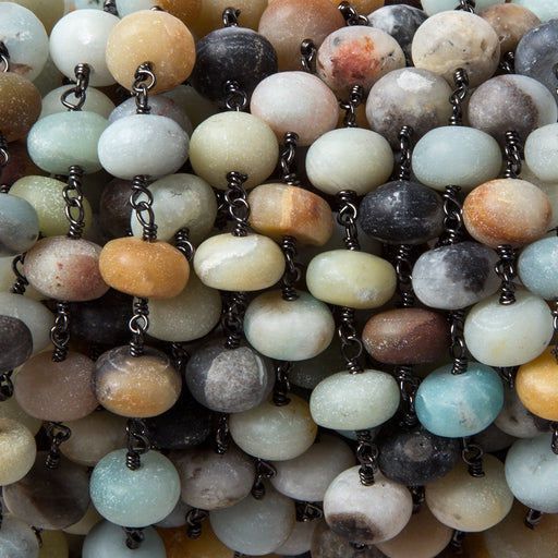 8.5mm Matte Multi Color Amazonite rondelle Black Gold Chain by the foot with 22 pcs
