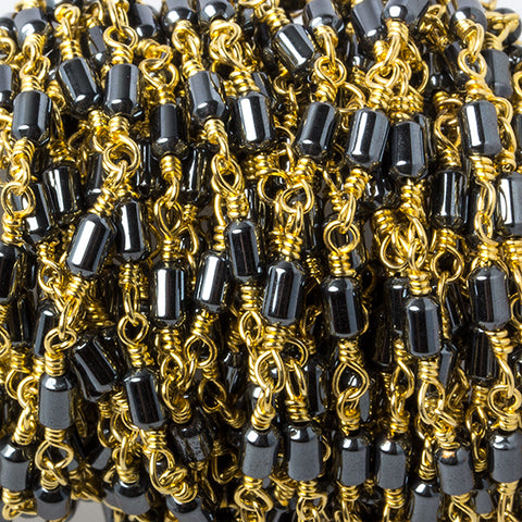 3.5x2mm Hematite plain tube Gold plated Chain by the foot 33 pieces