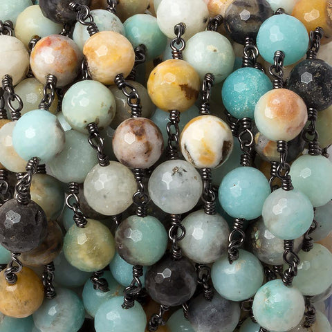 8mm MultiColor Amazonite faceted round Black Gold chain by the foot 23 pcs