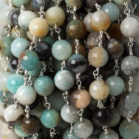 8mm MultiColor Amazonite faceted round Silver chain by the foot 23 pieces