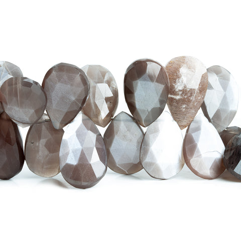 15x11mm-18x13mm Chocolate Moonstone Faceted Pear Beads 8 inch 37 pieces