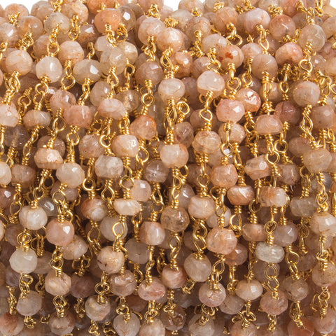 3.8mm Sunstone faceted rondelle Gold plated Chain by the foot 35 pieces
