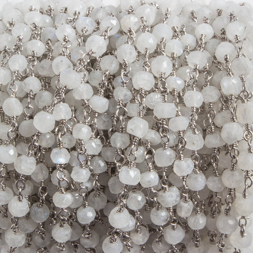 4mm Rainbow Moonstone rondelle Silver plated Chain by the foot 35 pieces