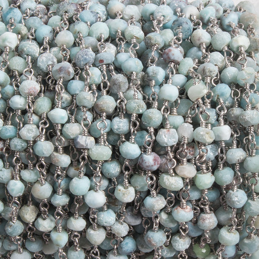 3.5-4mm Matte Larimar faceted rondelle Silver plated Chain by the foot 37 pcs
