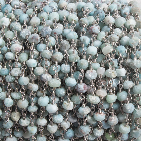 Attractive 3.5-4mm Matte Larimar faceted rondelle Silver plated Chain by the foot 37 pcs - Buy From The Bead Traders Online Store.