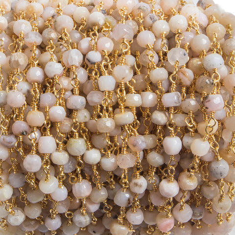 3.8mm Pink Peru Opal faceted rondelle Gold plated Chain by the foot 35 pieces