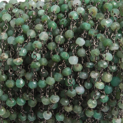 3.5mm Chrysoprase faceted rondelle Black Gold plated Chain by the foot 35 pcs
