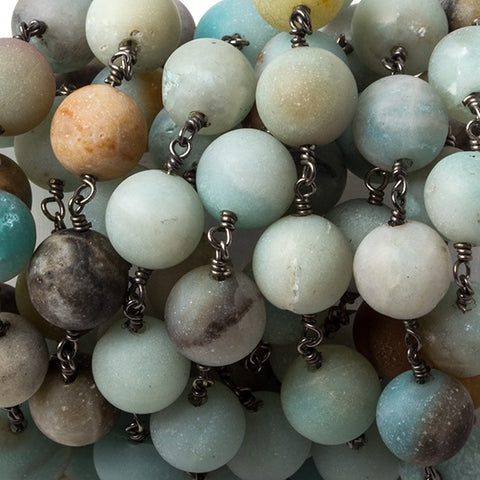 10.5mm Matte Amazonite plain round Black Gold plated Chain by the foot 18 pcs