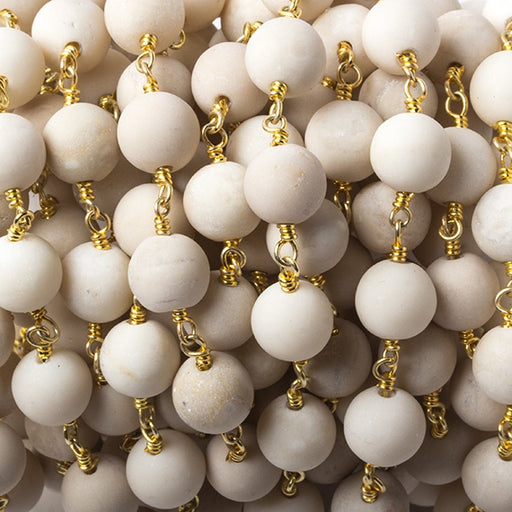 8mm Matte River Stone Jasper plain round Gold plated Chain by the foot 21 pieces