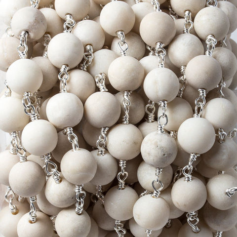 8mm Matte River Stone plain round Silver Chain by the foot 21 pieces