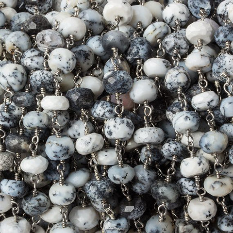 6mm Dendritic Opal faceted rondelle Silver Chain by the foot 30 pieces