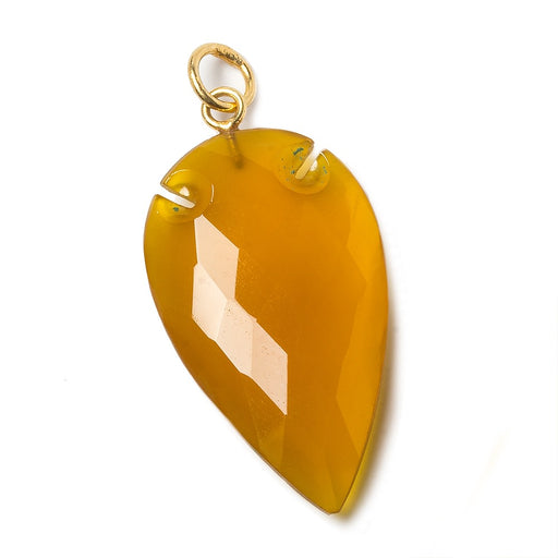 36x20mm Golden Chalcedony Faceted Arrowhead Focal Pendant 1 piece