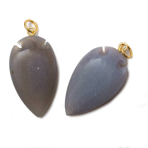 36x20mm Violet Grey Chalcedony Matte Arrowhead Focal Pendant 1 piece