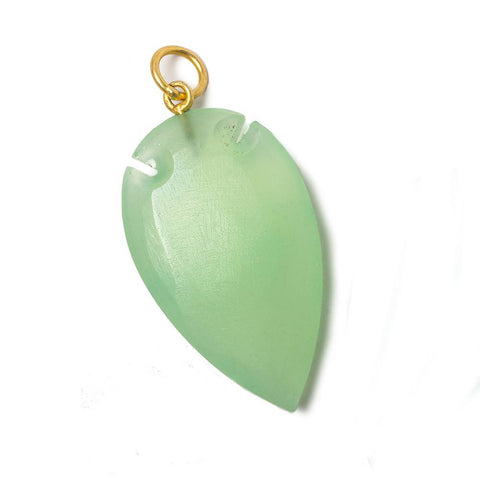 36x20mm Citrus Green Chalcedony Matte Arrowhead Focal Pendant 1 piece