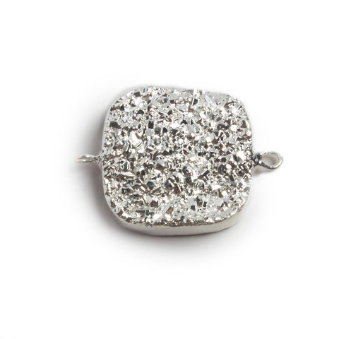 Superior quality 22mm Silver plated Square Drusy Connector 1 focal bead - Buy From The Bead Traders Online Store.
