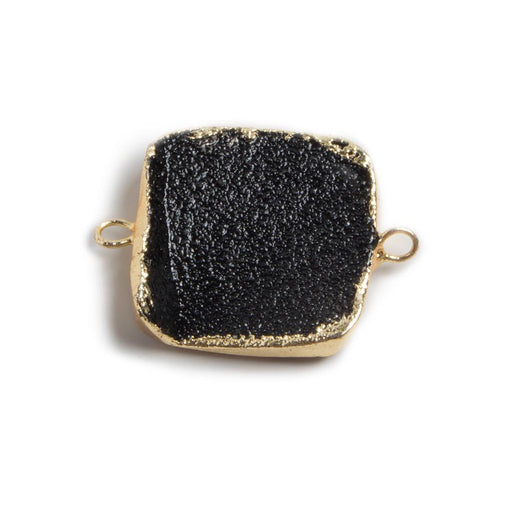 22mm Gold edged Black Square Drusy Connector 1 focal bead