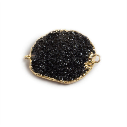 18x15-25x20mm Gold edged Black Free Form Drusy Connector 1 focal bead