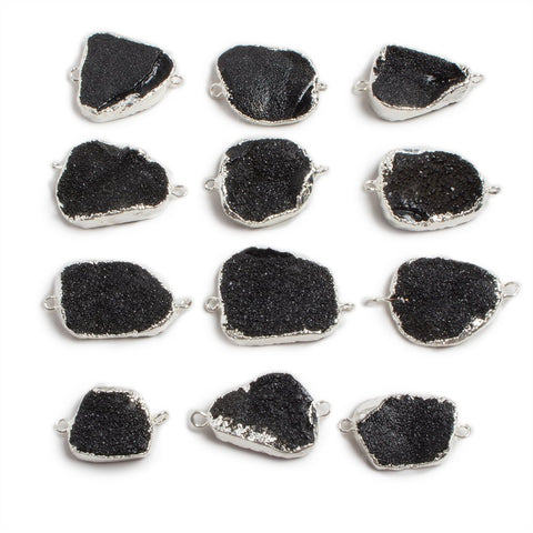 18x15-25x20mm Silver edged Black Free Form Drusy Connector 1 focal bead