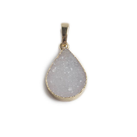 18x15x6mm Gold Leafed White Agate Drusy Pear Pendant & bail 1 piece