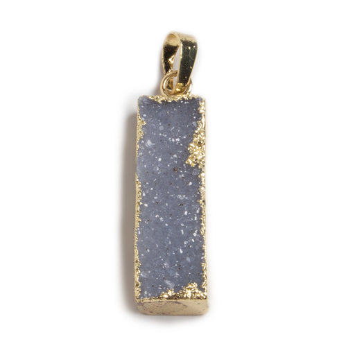 35x10mm Gold Leafed Grey Drusy Bar Pendant & Bail 1 piece
