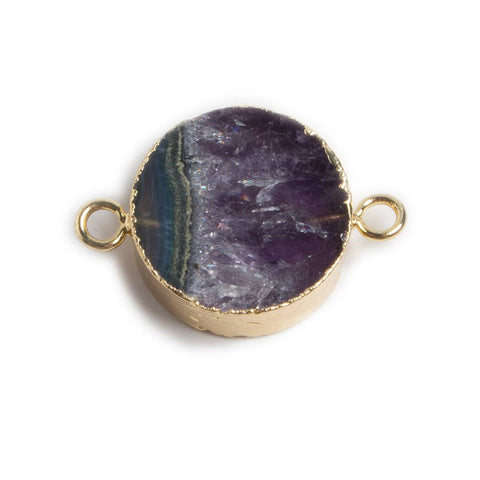 20mm Gold Leafed Banded Agate & Amethyst Plain Coin Connector 1 piece
