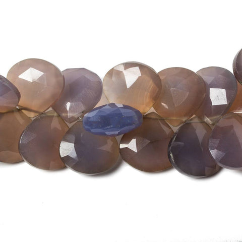 13x13mm Blue & Beige Chalcedony Faceted Heart Beads 8 inch 43 pieces. Color Treated