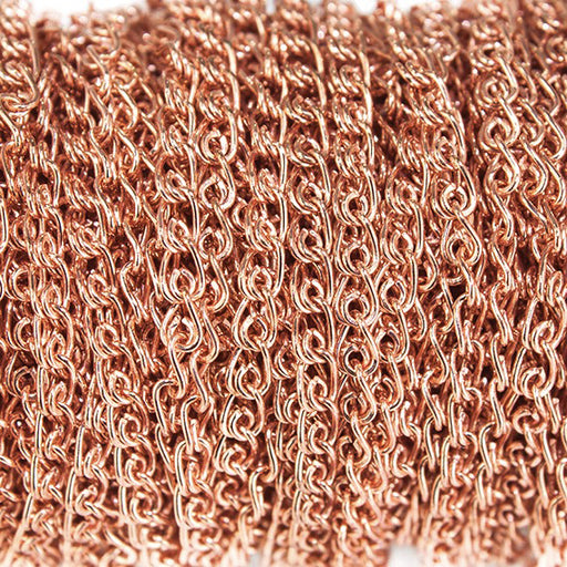 2mm Rose Gold plated Double Loop Link Chain sold in 6 feet