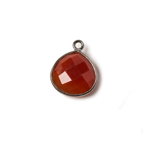 13mm Carnelian Heart Oxidized Silver Bezel Pendant 1 ring charm, 1 piece