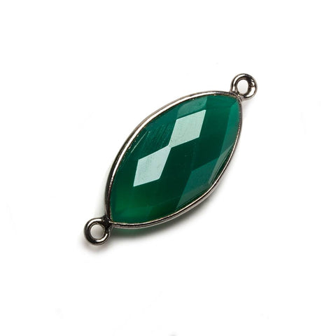 20x11mm Green Chalcedony Marquise Oxidized Silver Bezel Connector 2 ring charm, 1 piece