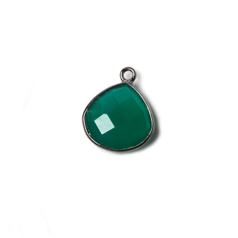 13mm Green Chalcedony Heart Oxidized Silver Bezel Pendant 1 ring charm, 1 piece