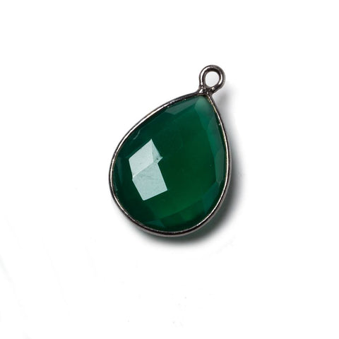 17x13mm Green Chalcedony Pear Oxidized Silver Bezel Pendant 1 ring charm, 1 piece