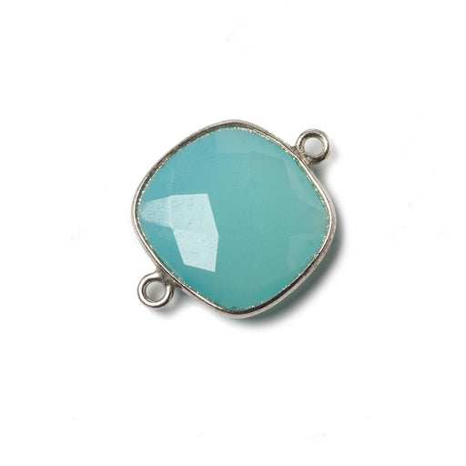 16mm Aqua Chalcedony Cushion .925 Silver Bezel Connector 2 ring charm, 1 piece
