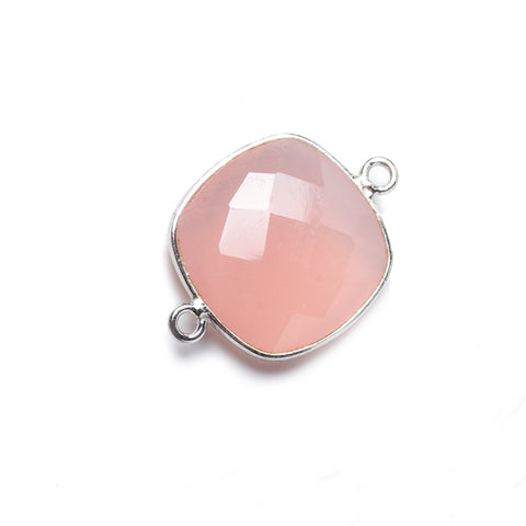 16mm Petal Pink Chalcedony Cushion .925 Silver Bezel Connector 2 ring charm, 1 piece