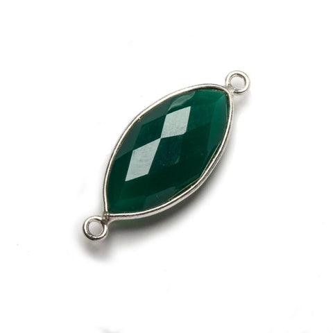 20x11mm Green Chalcedony Marquise .925 Silver Bezel Connector 2 ring charm, 1 piece